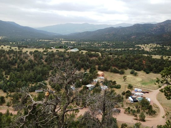 Mountaindale Cabins & RV Resort : View from above campgrounds on hiking trail.