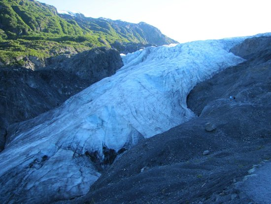 Harding Ice Field Trail: Once climb down completed - rushing to the base of Exit glacier