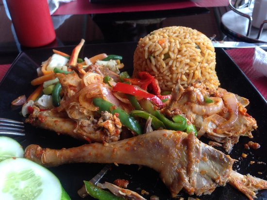The Charcoal Grill Restaurant & Coffee Lounge: Grilled pepper chicken and spicy rice