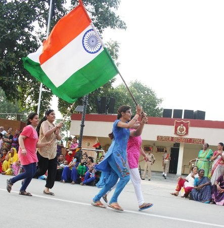 Wagah Border : Flag bearing by commons....