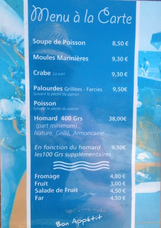 Glenan Islands: Restaurant Castric Menu