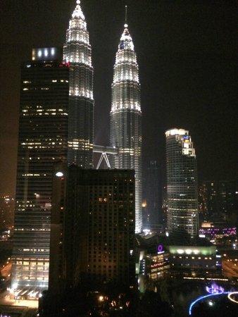 Grand Hyatt Kuala Lumpur: Nighttime view from bedroom and bathroom windows in suite 2704.
