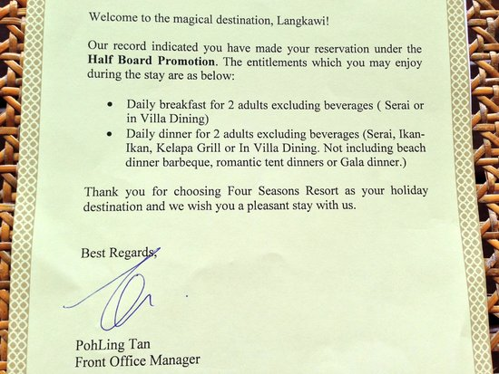 Four Seasons Resort Langkawi, Malaysia : Welcome note
