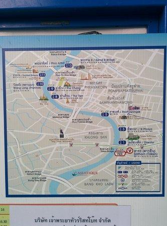 Wat Pho (Tempel des liegenden Buddha): 船の地図