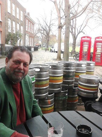 Richard with essential supplies at The Prince's Head, Richmond Green