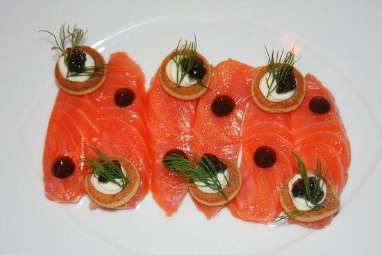 At.Mosphere Restaurant: Balik Smoked Salmon for a Starter.