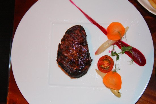At.Mosphere Restaurant: Steak of the Day Josper grilled,steak fries,hoe made A1 sauce