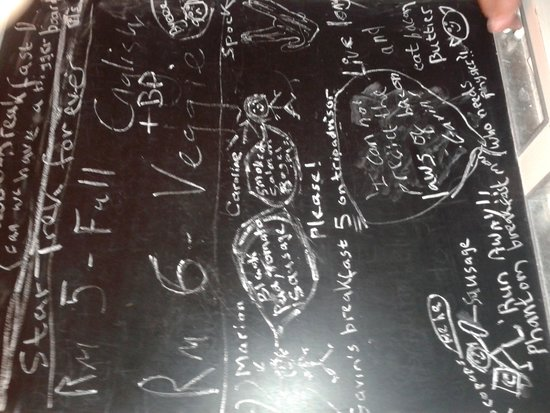 The Old Town Guesthouse: The breakfast blackboard!