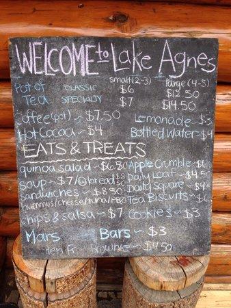 Lake Agnes Teahouse : Menu - July 26, 2014
