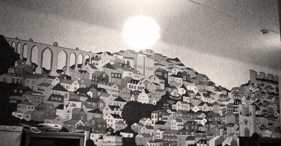 Salitre Hostel: Mural de la sala de estar /cocina del Hostel Salitre.