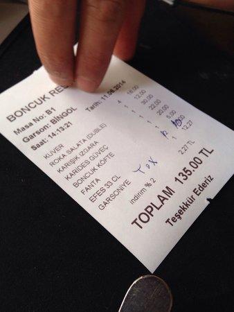 Boncuk Restaurant: Double check ur bill!