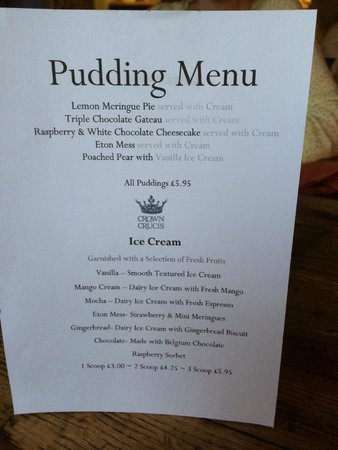 The Bar at The Crown of Crucis: Pudding menu