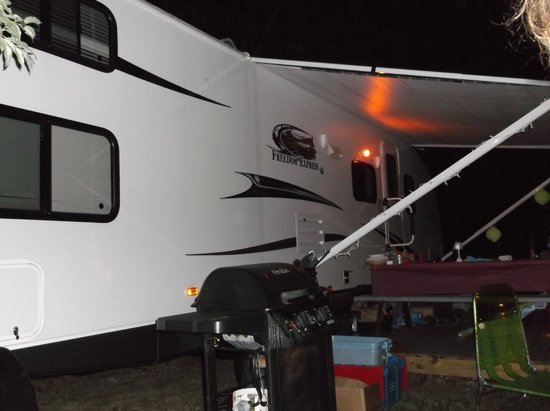 Adventure Bound Camping Resort - Cape Cod: Outside of RV at night