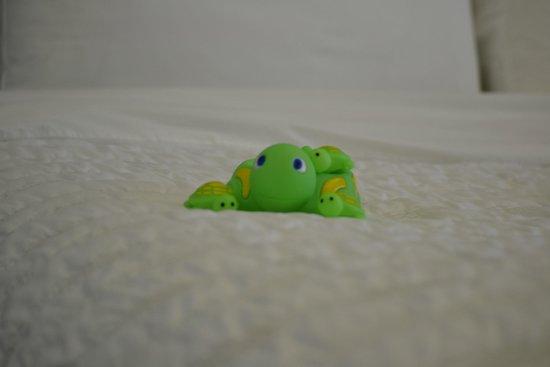 Le Meridien Al Aqah Beach Resort : Turtle on the bed