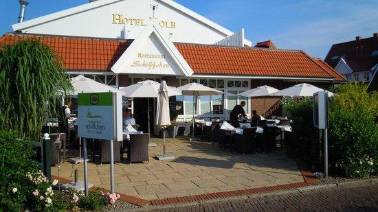 Hotel Kolb & Inselchalets: Hotel Haupthaus Vorderansicht Restaurant