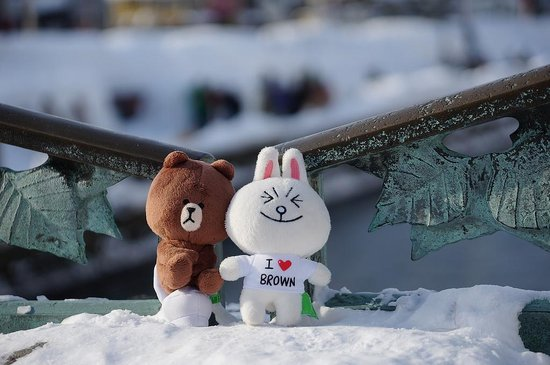 "Otaru Canal: 兔兔&熊大也懂得在這兒搞浪漫=.="""