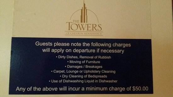 Mantra Towers of Chevron: List of hidden charges