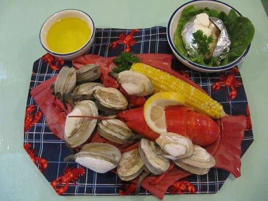 Lobster Claw: Lobster, Clams, Corn on the Cob and Baked Potato