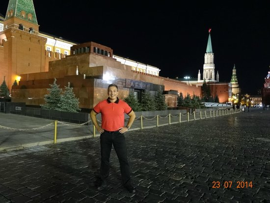 NIGHT VIEW CLOSE TO LENIN'S MAUSOLEUM AS SEEN IN JULY 2014.