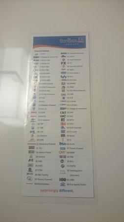 Sonesta ES Suites Flagstaff: Tv Channels List