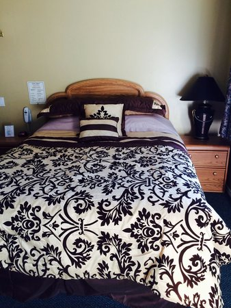 Park Motel: Above average quality attractive bedding in a reasonably priced motel!