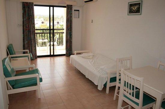 Seagull Apartments: Гостиная в апартаментах с 1 спальней (с большой дверью на балкон)