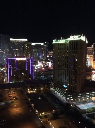 Signature at MGM Grand: view at night from balcony
