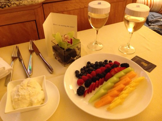 The Ritz-Carlton, Cleveland: A lovely fruit presentation with Champagne!