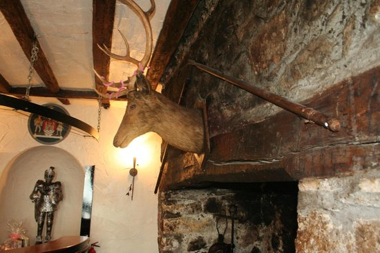 Dobbins Inn Hotel : Pikes and deer's head over the fireplace.