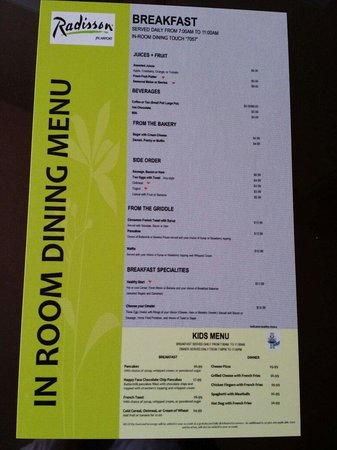 Radisson Hotel JFK Airport: The menu 1