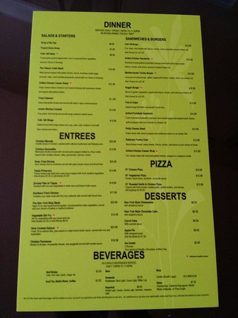 Radisson Hotel JFK Airport: The menu 2