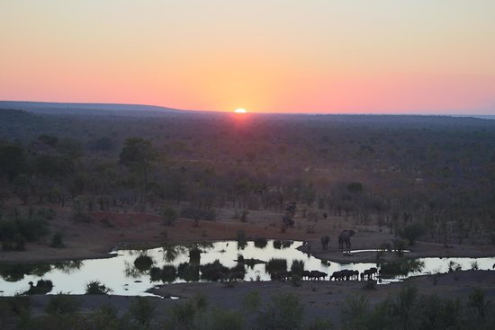 Victoria Falls Safari Lodge: Sunset from back of hotel near bar area