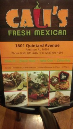 Cali's Fresh Mexican: Menu