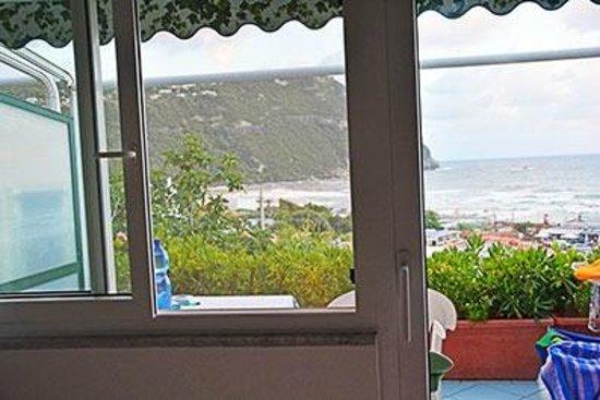 Casa del Sole: Una veduta, dall'interno della camera, del balcone con vista mare