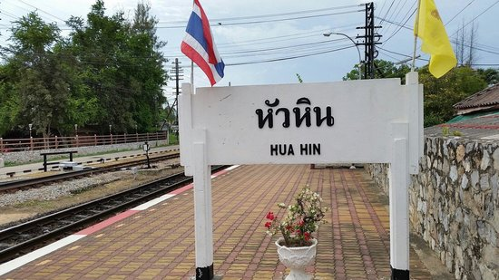 Hua hin railway station sign