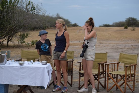 Selous Impala Camp: A welcome drink out and about