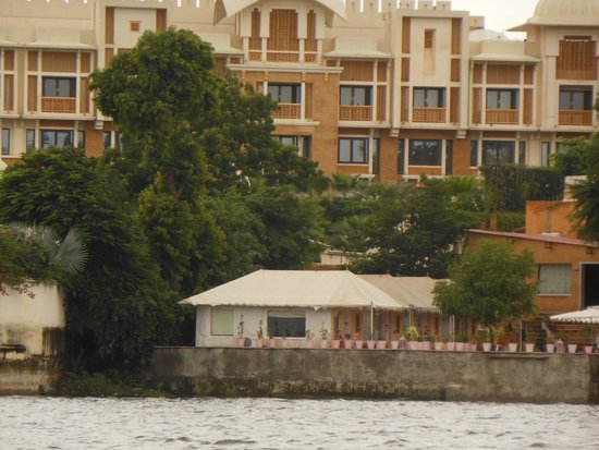 Raas Leela Luxury Camps: View of my hut from lake Pichola while boating