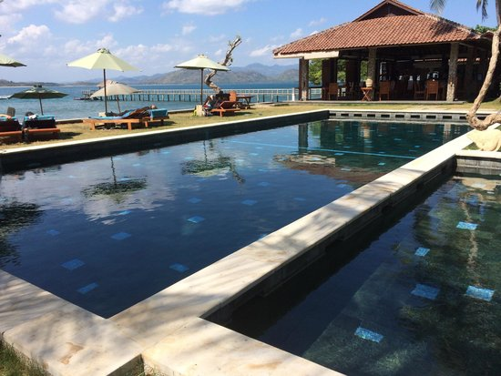 Cocotinos Sekotong, Boutique Beach Resort & Spa: Pool with restaurant in background