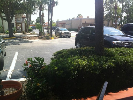 Jaybird's Inn: View of parking in front of our room