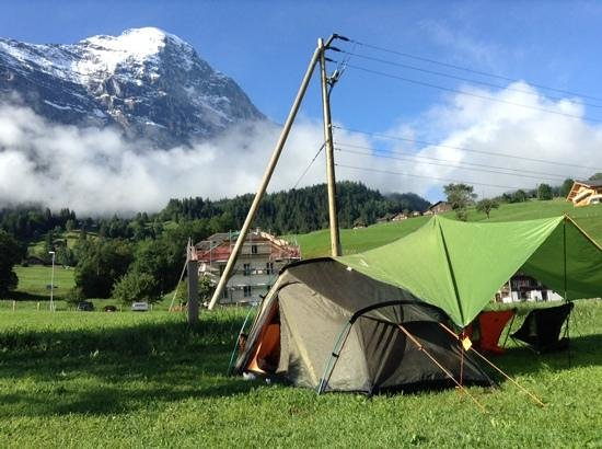 Camping Eigernordwand: our site. with the northface of the eiger