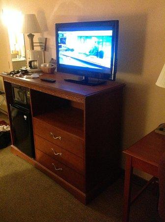 Quality Inn Cedar Point: TV, Stand, Microwave, Coffee Maker, Refrigerator