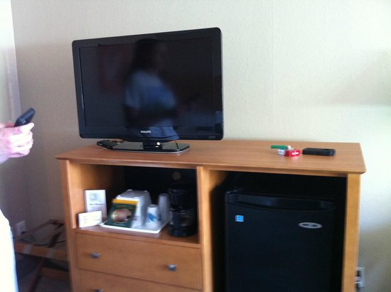 Beachside Motel: Flat screen television and refrigerator