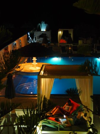 Mediterranean Beach Resort: View from our balcony at night