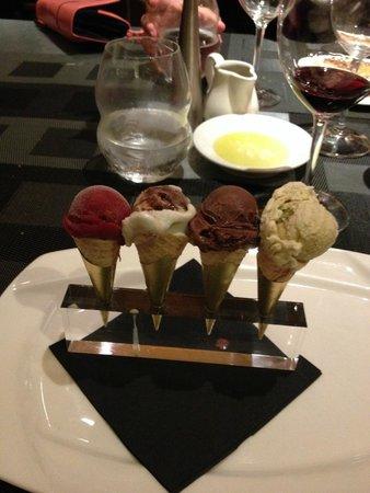 Baci Cafe & Wine Bar : Four Gelatos on Mini Cones