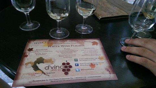 D'vino Wine Bar : White wine flight