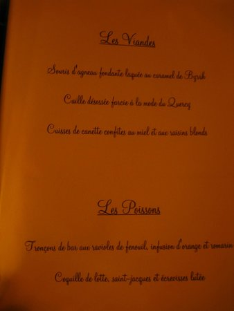 Au Grand Inquisiteur: menu for meats and seafood