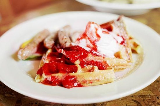 Rhody Cafe : House-Made Waffles with Sausage