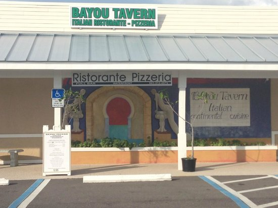 BAYOU TAVERN: This is what you see from the street and parking lot.