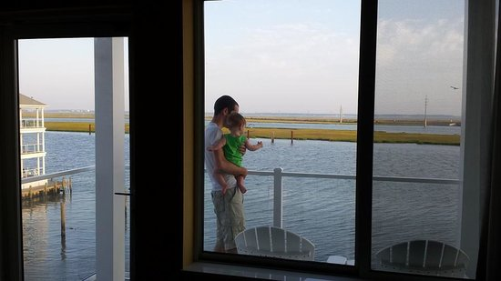 Fairfield Inn & Suites Chincoteague Island: My husband & son checking out the morning view from our balcony.