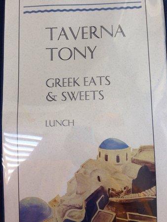 Taverna Tony: Lunch menu
